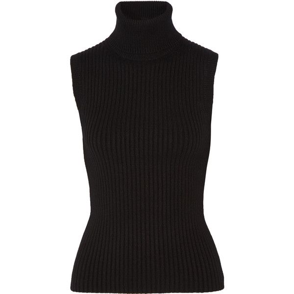 Michael Kors Collection Ribbed stretch cashmere-blend turtleneck top found on Polyvore featuring tops, sweaters, cashmere blend sweater, ribbed sleeveless turtleneck, turtleneck top, chunky sweater and sleeveless turtleneck top