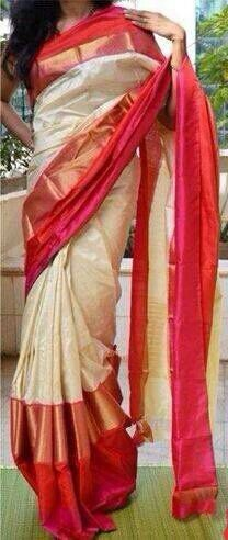 Off white ikkat saree with pink and red border with zari