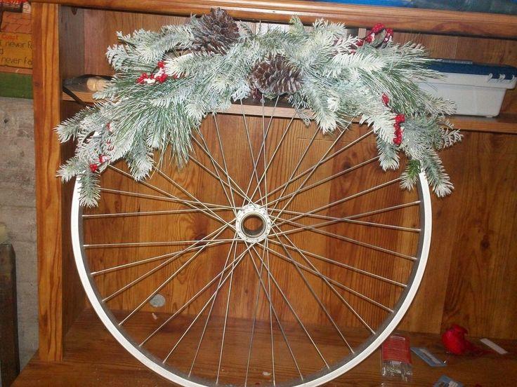 We've never seen this bike wheel reuse, but her neighbors must love it