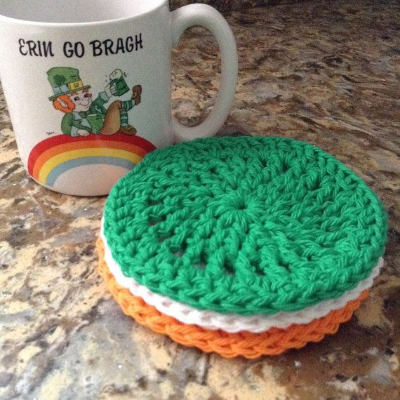Sold as a set of 3 in green, white & orange. [Colors of the Irish flag.]  Made of 100% cotton  Measures: 4.5 dia  Smoke-free, dog friendly home  Handmade in So Cal  Ready to ship!  [Mug is for display purposes only and is not for sale.]