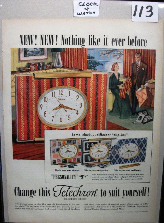 "Wat ... 113 ""Telechron Electric Clock ...""  Magazine Ad - November 1951"