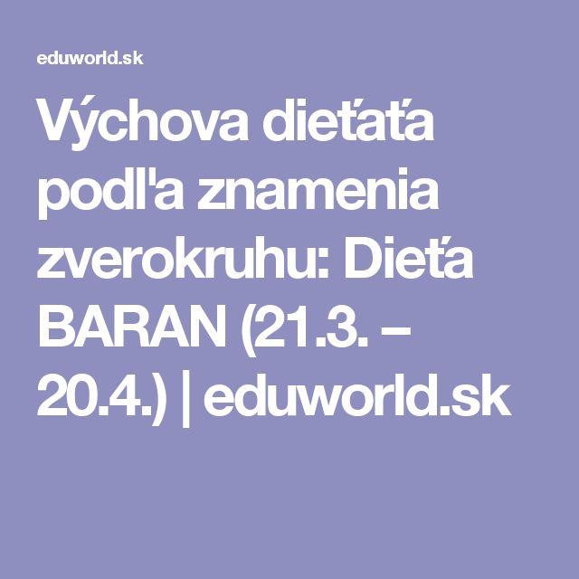 Výchova dieťaťa podľa znamenia zverokruhu: Dieťa BARAN (21.3. – 20.4.) | eduworld.sk