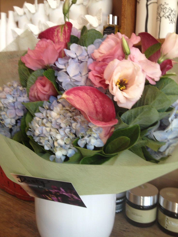 bouquet with lisianthus, hydgrangea and calla lilies- dusty miller designs