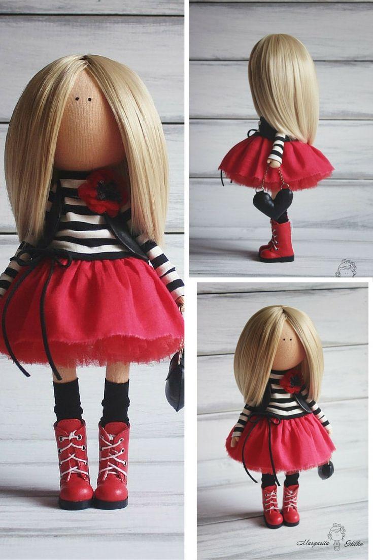 Soft doll red black blonde Handmade doll Nursery decor Tilda doll Art doll Baby doll Rag doll unique magic doll