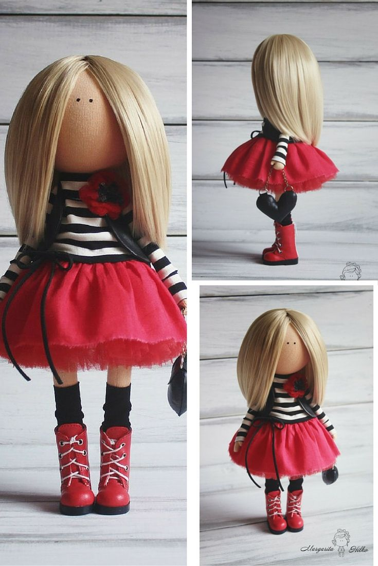 Soft doll red black blonde Handmade doll Nursery decor Tilda doll Art doll Baby doll Rag doll unique magic doll