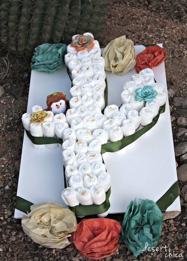 Create A Cactus Diaper Cake With Baby Diapers Cowboy
