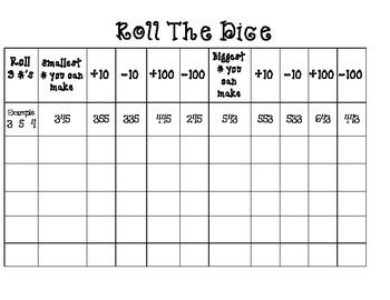 Roll the Dice Mental Math - good idea for students struggling with place value/number sense by Nov