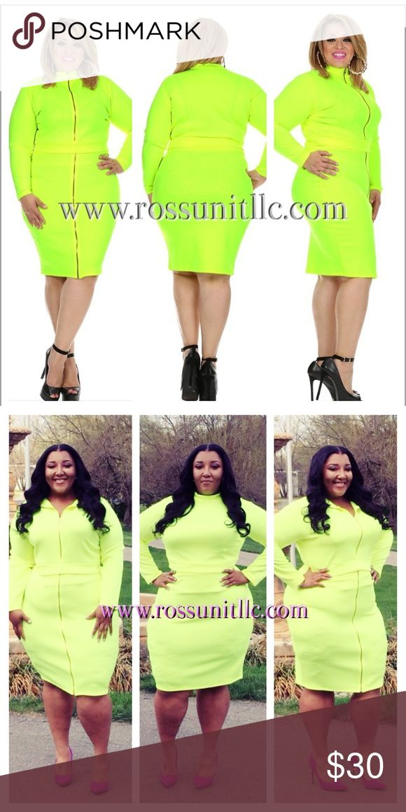 Bright Light 2Pc Set Plus Size long Sleeve BodyCon Midi Dress with zipper closure mock neck, zip skirt (wear zipper in front or back); Techno; Plus Sizes: 1X(14/16), 2X(18/20), 3X(22/24); Neon yellow Skirts Skirt Sets