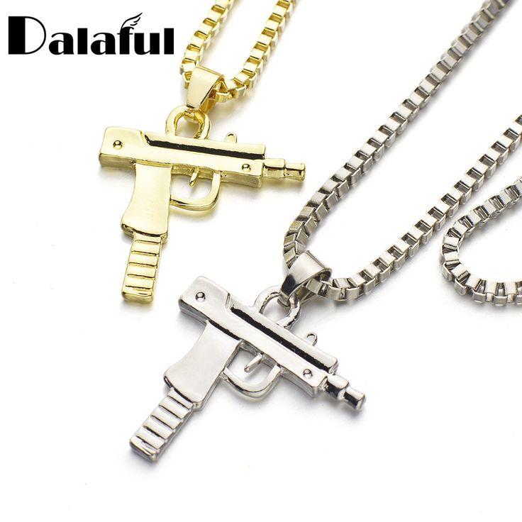 Fashion Hip Hop Pistol Gun Pendant Necklace Link Chain Punk Cool Pendants For Men Women Gift Necklaces X618