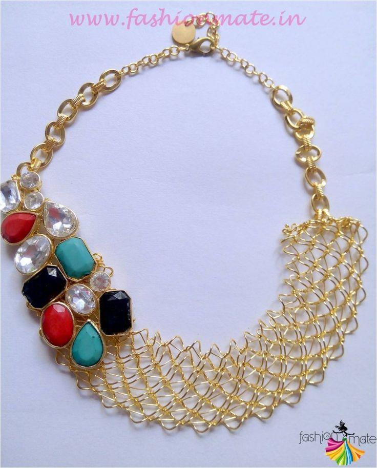 Indowestern Bib necklace online fashion jewellery trends 2015