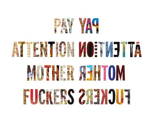 Tony Albert & friends (detail) Pay Attention (mirror view) 2009-10, mixed media on aluminium, each letter 75cm high, total length approximately 2100 cm. Courtesy the artist and roundabout.