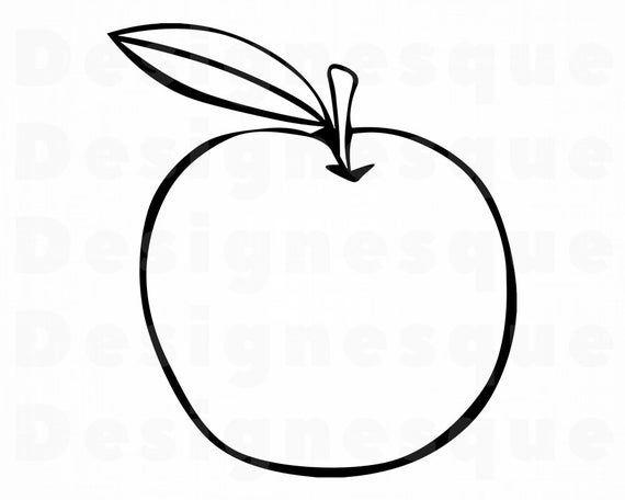 Apple Svg Fruit Svg Apple Outline Svg Apple Clipart Apple Etsy Apple Outline Clip Art Outline