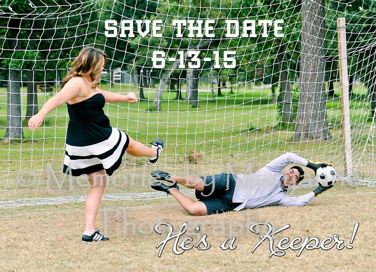 Engagement photos, outdoors, soccer, save the dates