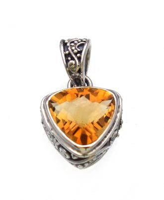 Dainty Citrine Pendant set in Sterling Silver with an ornate bale. Gifts under 40. Free Shipping domestic US. Quality Fine Jewelry