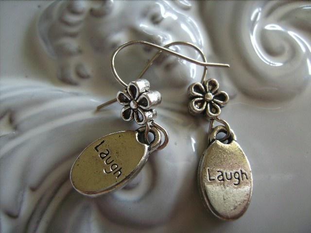"""LAUGH"" INSPIRATIONAL CHARM design earrings silver tone charm earring - by createddesignsbyrina on madeit"