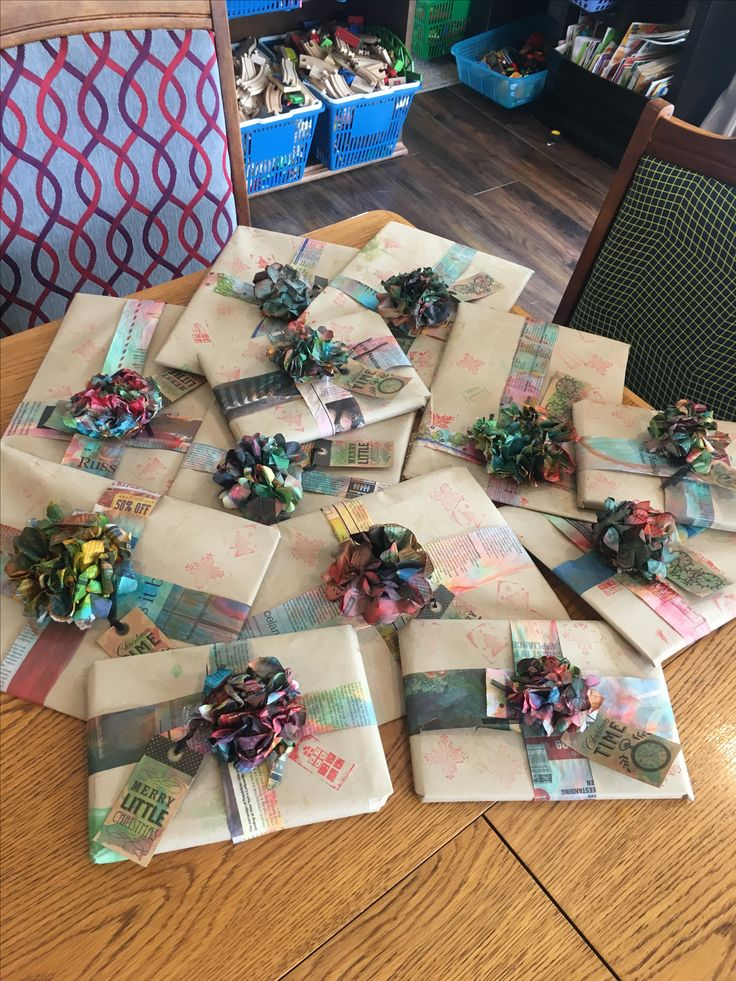 Up cycling newspaper - christmas wrapping