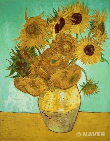 [빈센트 반 고흐-해바라기(Sunflowers)]   고흐가 평소 좋아하던 꽃인 해바라기12송이 그림이다.  그리고 12송이의 해바라기는 제각기 다른 모습으로 그려져 있다. 이를 통해 시간의 흐름을 느낄 수 있다.