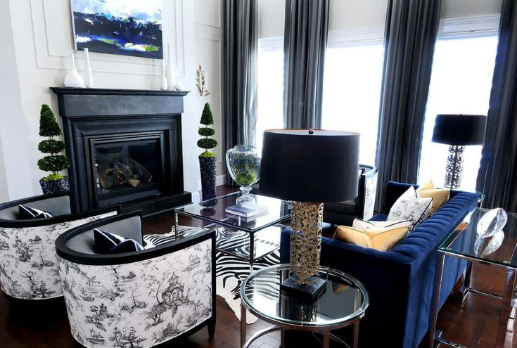 Living Room Curtains Design Ideas 2016. Dark contrasting classic style of the room with Art Deco touches and black straight-folds curtains