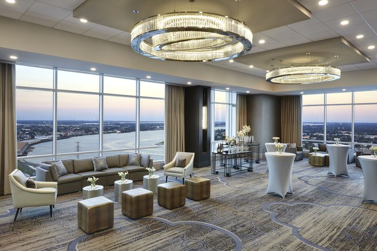 For the Marriott New Orleans multi-million dollar renovation, PRECIOSA delivered focal pendants and wall sconces for the Riverview ballroom and pre-function area, including the sophisticated 2-plane chandeliers of delicately arranged prism bars and LED light sources. #design #light #LEDlighting #lighting #chandelier #elegance #hotel #hospitality #prefunctionarea