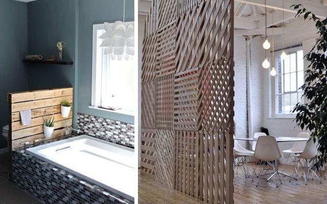 Decorar con pallets paneles decorativos y separadores de for Decoracion biombos separadores