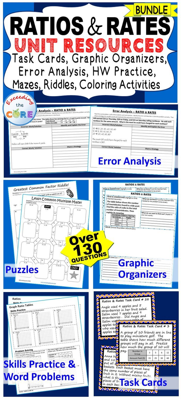 I use this RATIOS AND RATES BUNDLE every year with my students. It includes 40 task cards, 10 error analysis activities, 10 problem solving graphic organizers, 5 practice worksheets, 6 puzzles (over 130 questions). Perfect for warm-ups, spiral review, math centers, assessment prep, exit tickets and homework. Topics : Greatest Common Factor, Least Common Multiple, Ratios, Unit Rate & Unit Price, Equivalent Ratios, Ratio Tables , Rate Problems 6th grade math common core 6.RP.1, 6.RP.2, 6.RP.3.