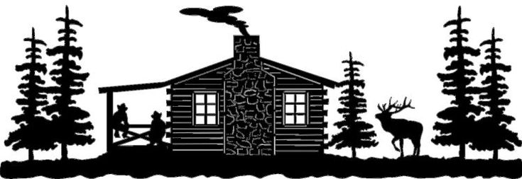 Cabin Scene With Elk Amp Cowboys On Porch Ws02 Clipart