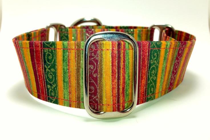 Autumn Stripe Wide Martingale Dog Collar - Custom Size. $20.00, via Etsy.