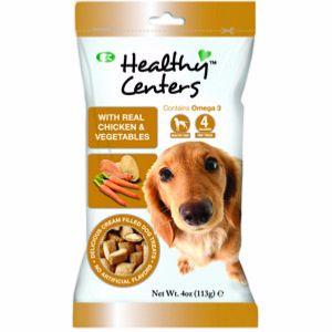 Healthy Centres de Pollo y Verduras, snacks para perros con gran sabor. Sin colorantes ni sabores artificiales. Rico en Omega 3.