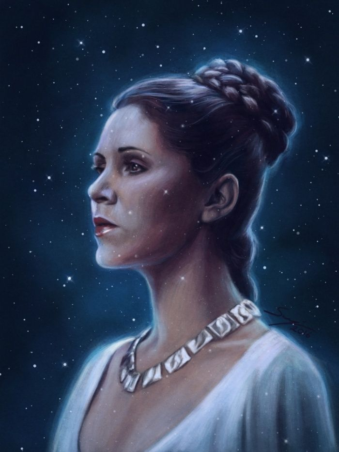 ARTIST: Svenja Gosen - One With The Force |  via: #Society6 |  Buy Prints & More: https://society6.com/product/one-with-the-force_print?curator=yellowmenace#s6-6370104p4a1v3 |  #Yellowmenace #PrincessLeia #CarrieFisher #StarWars #popart #fanart
