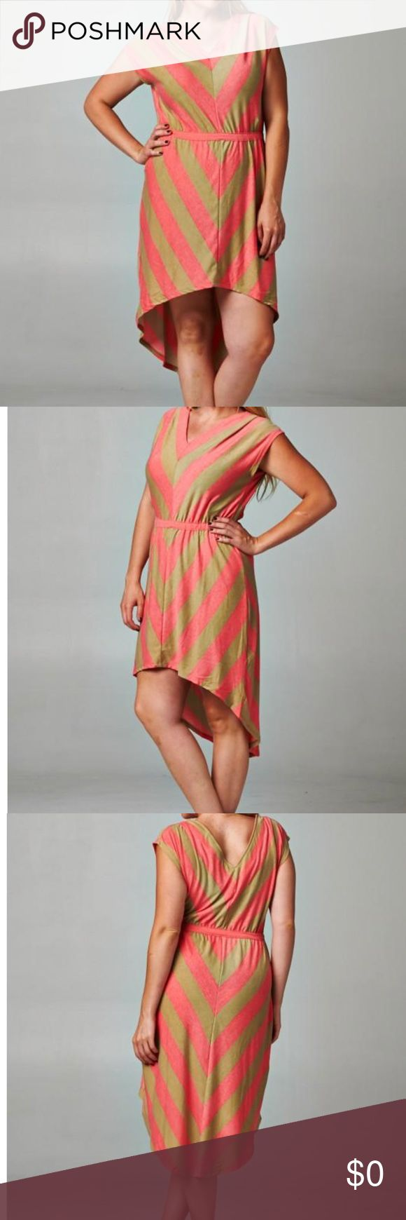 Plus Size Chevron Stripe Hi-Low Dress What a fun piece for any wardrobe! Dress it up with some strappy sandals or a pair of wedges. 95% Polyester, 5% Spandex. PRICE FIRM!!! Dresses High Low