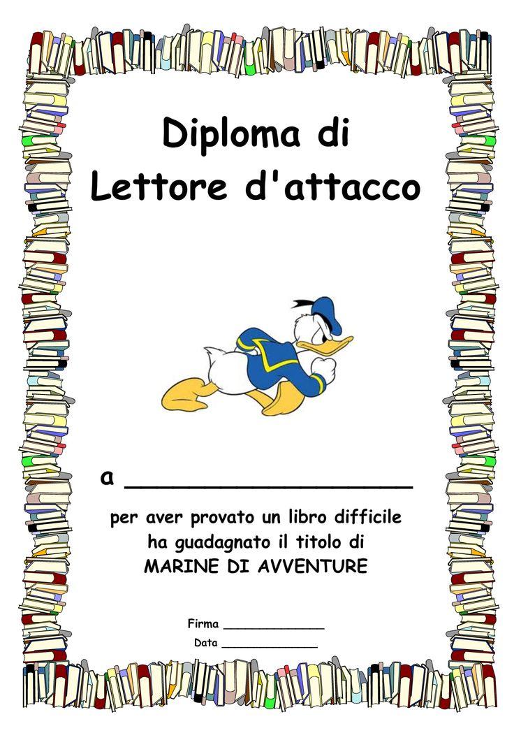5 Diplomi di lettore per bambini: ognuno sceglie il suo obiettivo e riceve un attestato in base al livello raggiunto.