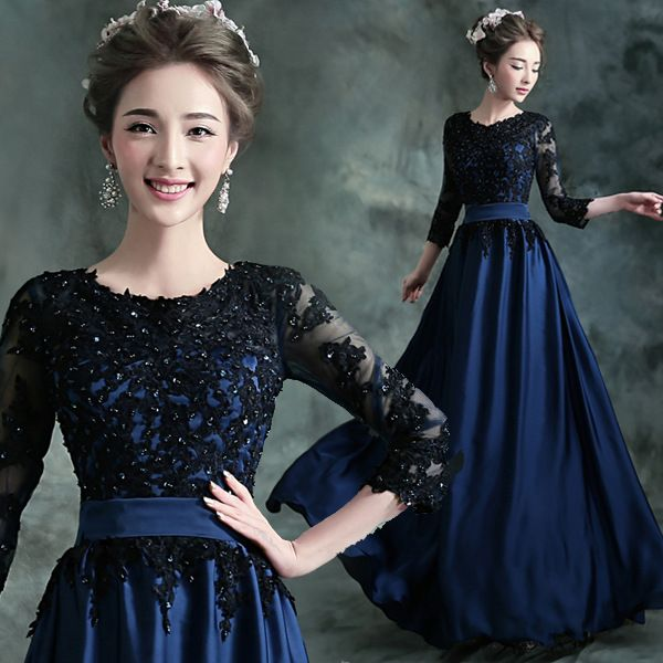 2017 Long Evening Dress Blue with Black A-Line Lace Embroidery 3/4 Sleeved Banquet Mother of The Bride Dresses Robe De Soiree