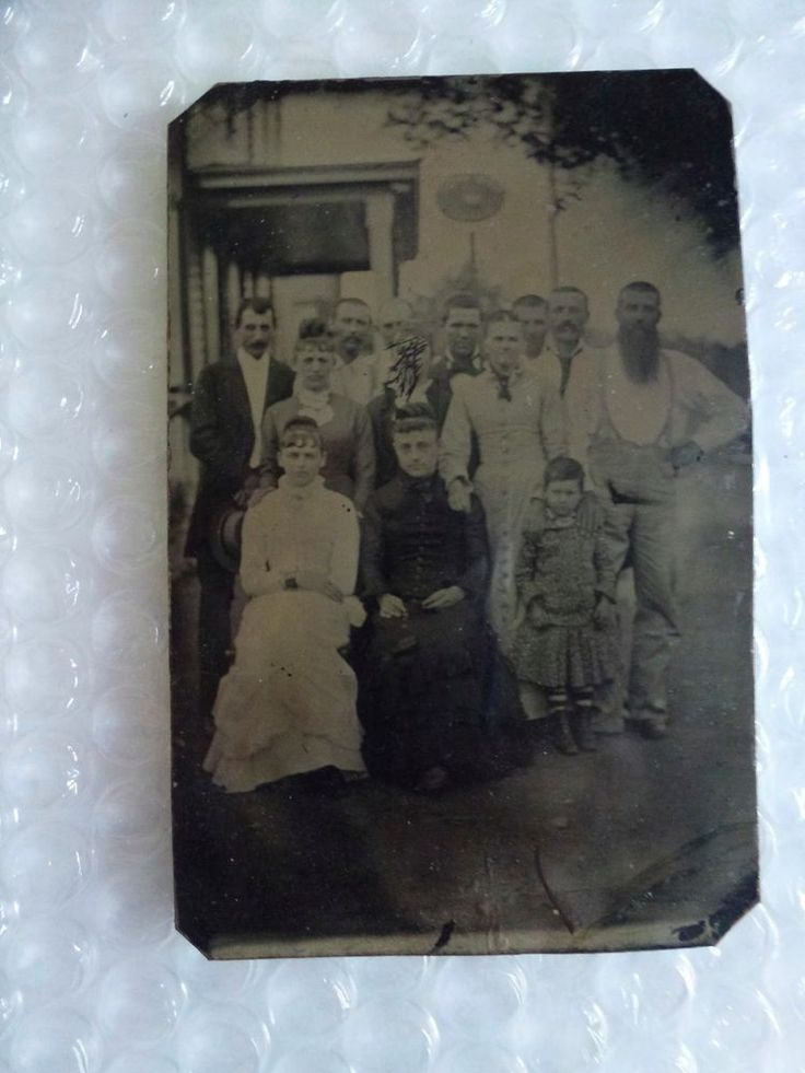 fAMILY PORTRAIT ANTIQUE TINTYPE PHOTO ONE LADY SCRATCHED OUT MADE AN ENEMY LOL  #antiquephoto #ebay