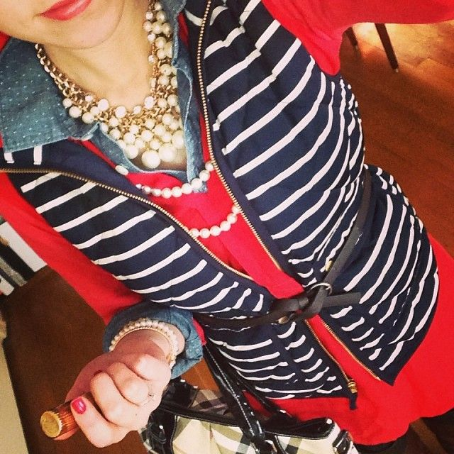 Polka dot chambray, red tunic, J.Crew navy striped excursion vest, and pearls upon pearls <3