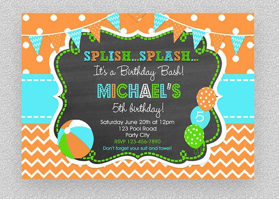 Boys Pool Party Invitation  Children's Pool by TheTrendyButterfly