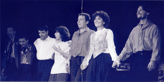 Tour (Ottobre-Dicembre 1989) da sin. - Eric Daniel, Ernesto Vitolo, Massimo Fumanti, Agostino Marangolo, Maurizio Galli, Mia Martini, Danilo Cherni
