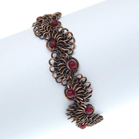 chainmaille lace, garnet bracelet, copper jewelry, chainmaille bracelet, burgundy, oxidized copper, european 4 in 1 on Etsy, $55.00
