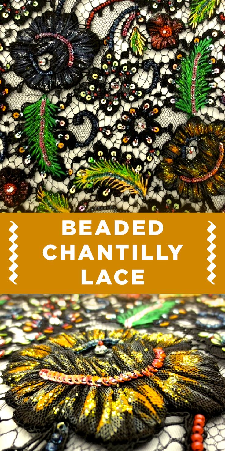 Colorful Floral Beaded Chantilly Lace