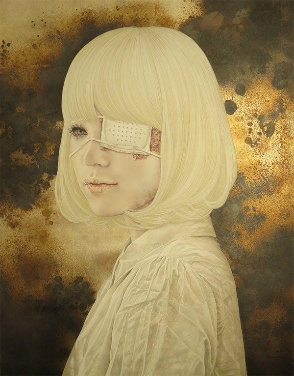 Takahiro Hirabayashi's Haunting Mixed-Media Portraits | Hi-Fructose Magazine