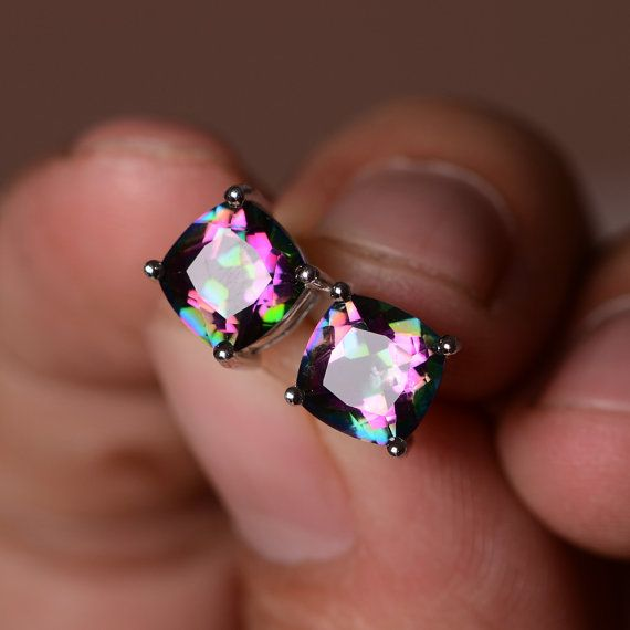 Mystic Topaz Earrings Sterling Silver Gemstone Rainbow Earring Stud