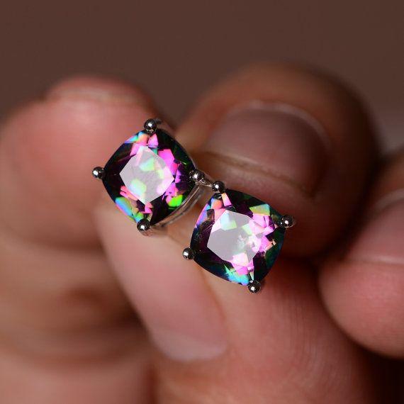 Mystic Topaz Earrings Sterling Silver Gemstone Rainbow Stud In 2018 Jewelry