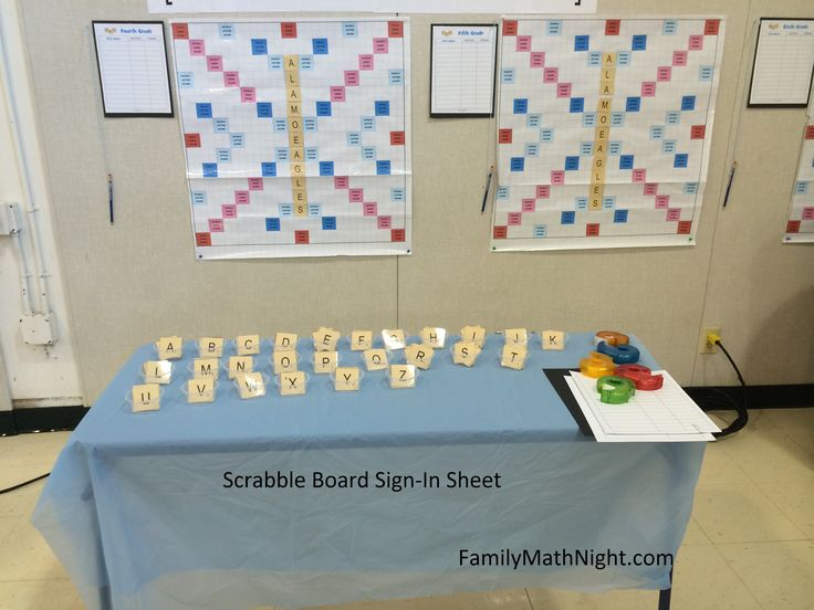 Scrabble Board Sign-In Sheet: This was a super fun Family Math Night activity! I made a scrabble board for each grade level. The challenge was to see which grade level could get the highest score by the end of the evening.