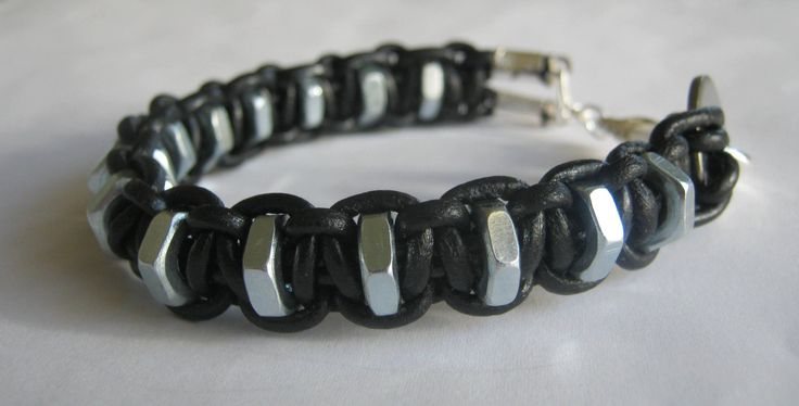 Men's leather and hardware bracelet with screw nuts and washer, black and silver, macrame, custom made for any wrist size. $20.00, via Etsy.