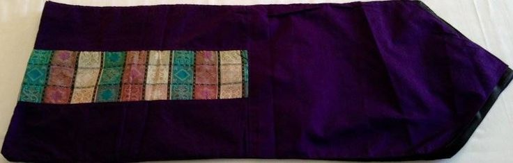 Purple Table Bed Runner Patchwork Insert 2 metres Cotton Satin Bali Ethnic $26.98