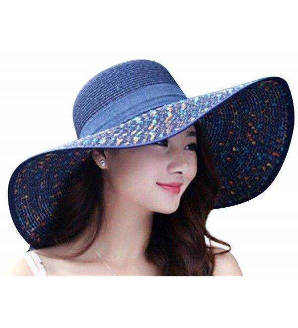 Women Summer Spekel Flap Cover Cap Staw Large Brim Upf 50 Sun Shade Hat Navy Ck17yihtx4n In 2020 Hats For Women Women Clothing Stores Online Women