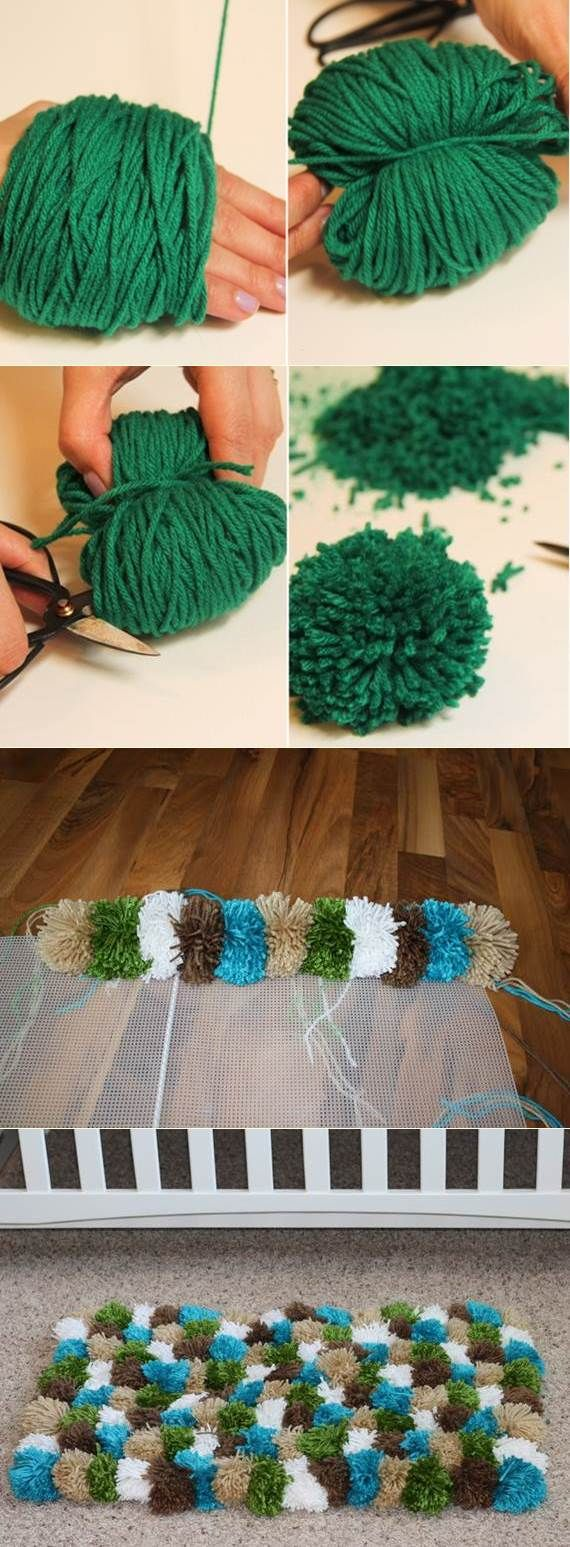 If done in cottons, and all in moss colors, this could actually be pretty cute. Pompom Rug | DIY Stuff