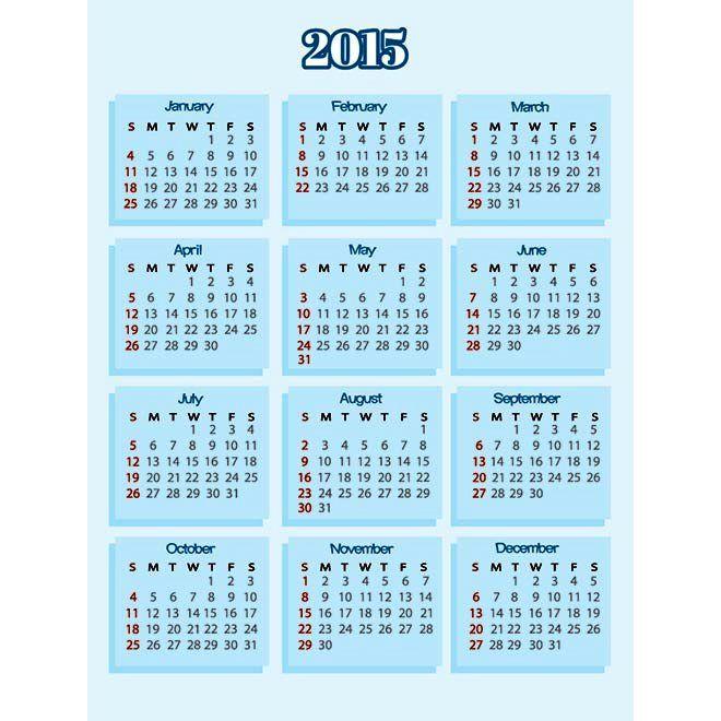 Kartu biru sederhana background 2015 Vector Template kalender Desain Unik Jpg Template cetak Download