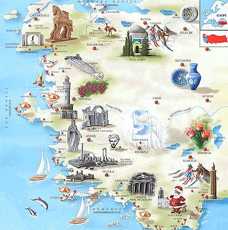 map THE AEGEAN COAST TurkeyPortal.com | Turkey Travel Portal, Turkey Travel Guide and Touristic Regions information with Photos