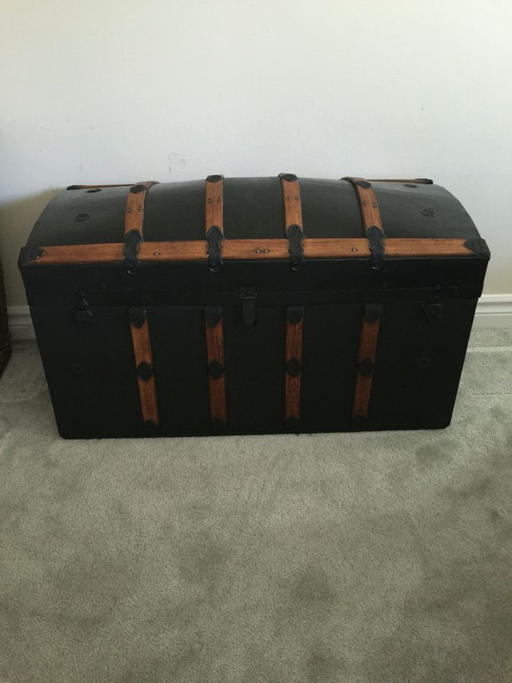 Restored wooden and steel chest