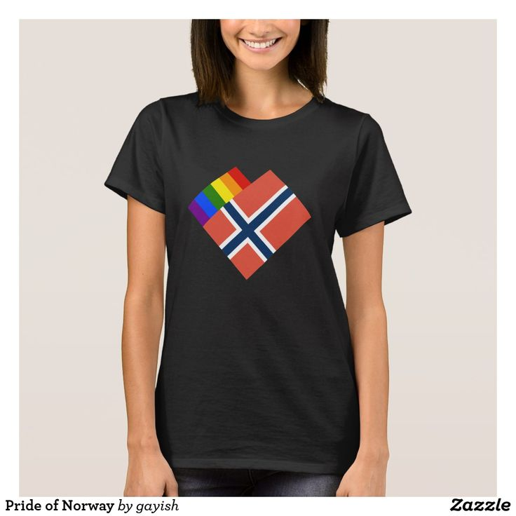 Pride of Norway t-shirt.  #gaypride #tshits #prideshirt #pride #flags #heart #gayrights #norge #norway #gaynorge #gaynorway